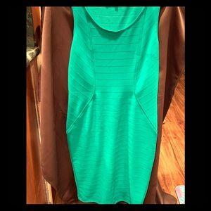 Kelly green, form flattering, curve hugging dress